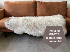 Wit grijze Nederlandse schapenvacht speciaal XXL 130 cm.
